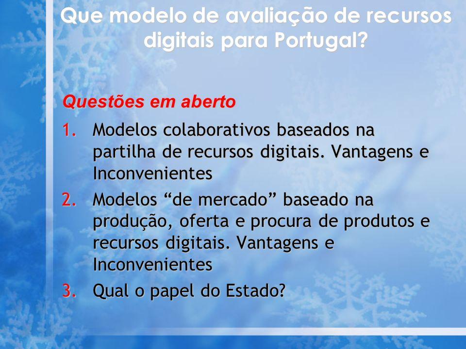 Que modelo de avaliação de recursos digitais para Portugal