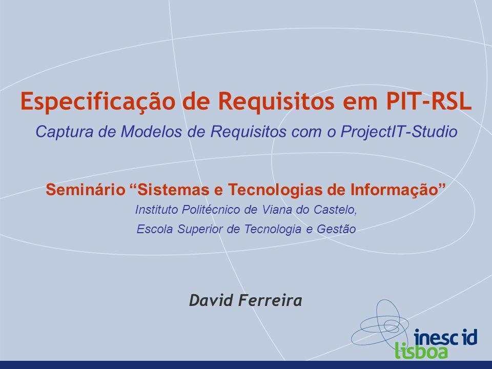 Especificação de Requisitos em PIT-RSL