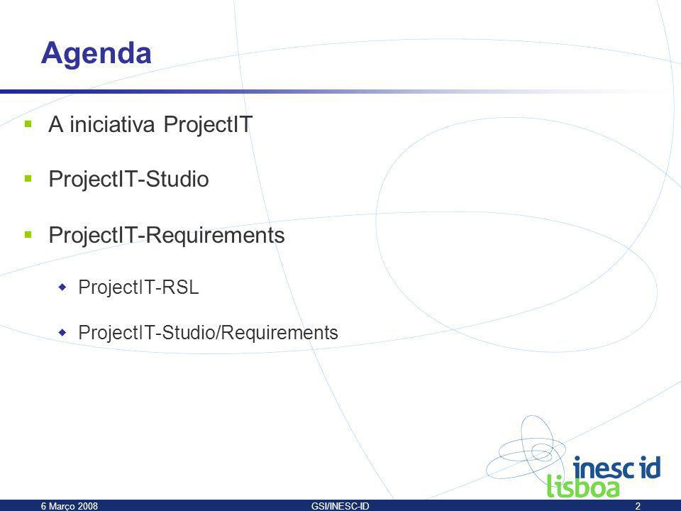 Agenda A iniciativa ProjectIT ProjectIT-Studio ProjectIT-Requirements