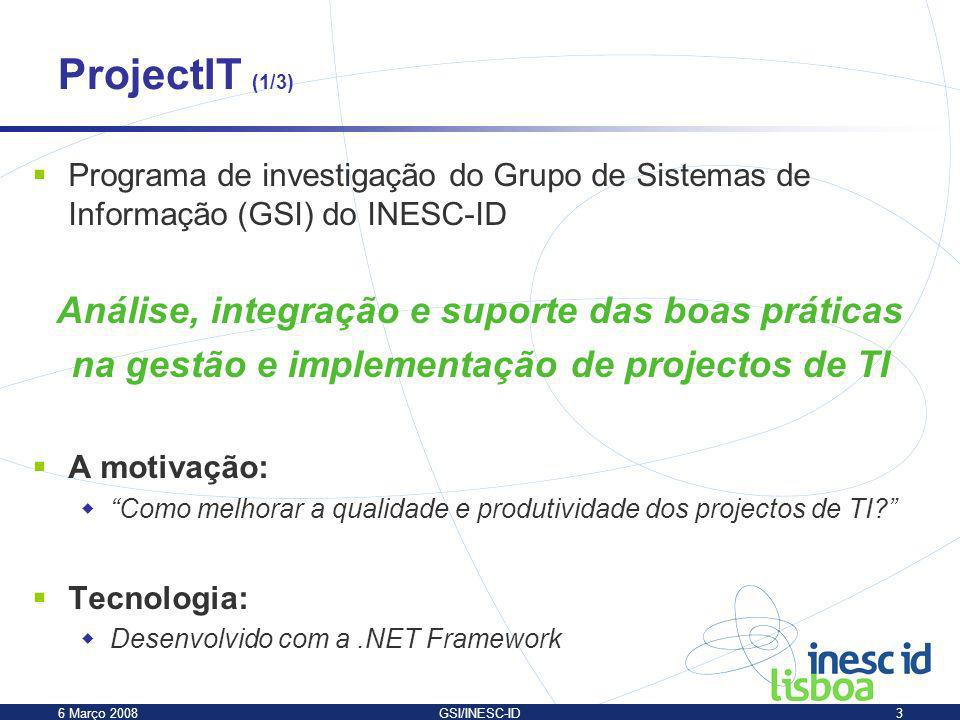 ProjectIT (1/3) Análise, integração e suporte das boas práticas