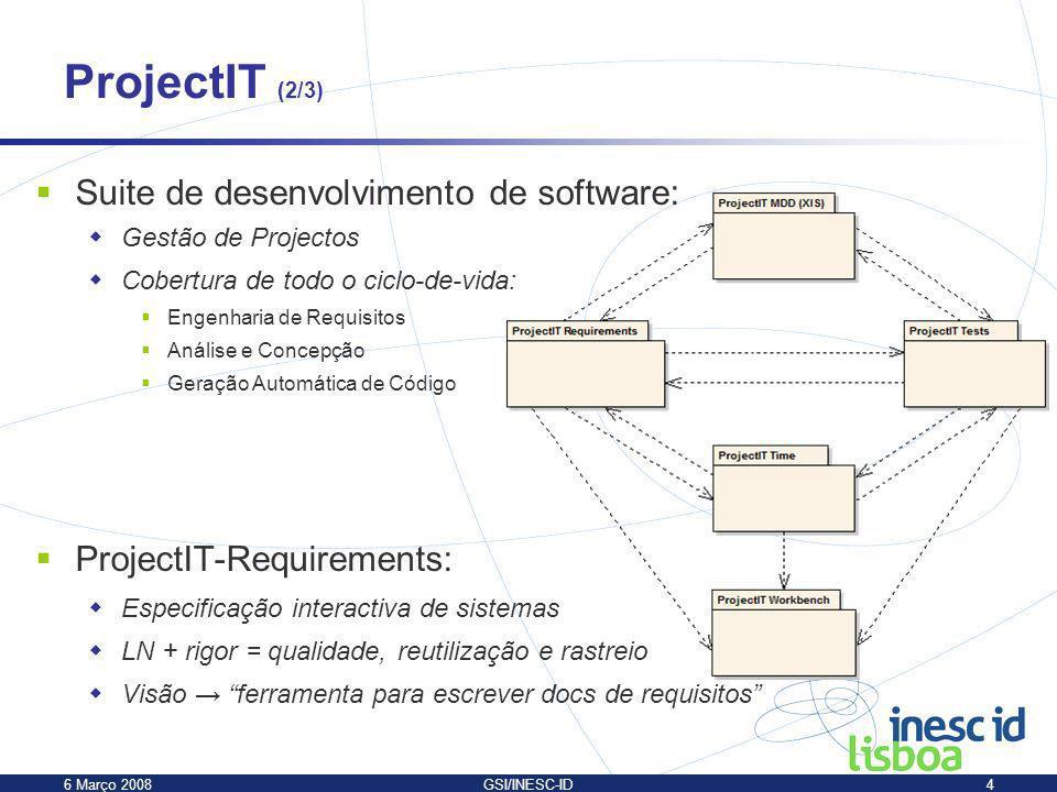 ProjectIT (2/3) Suite de desenvolvimento de software: