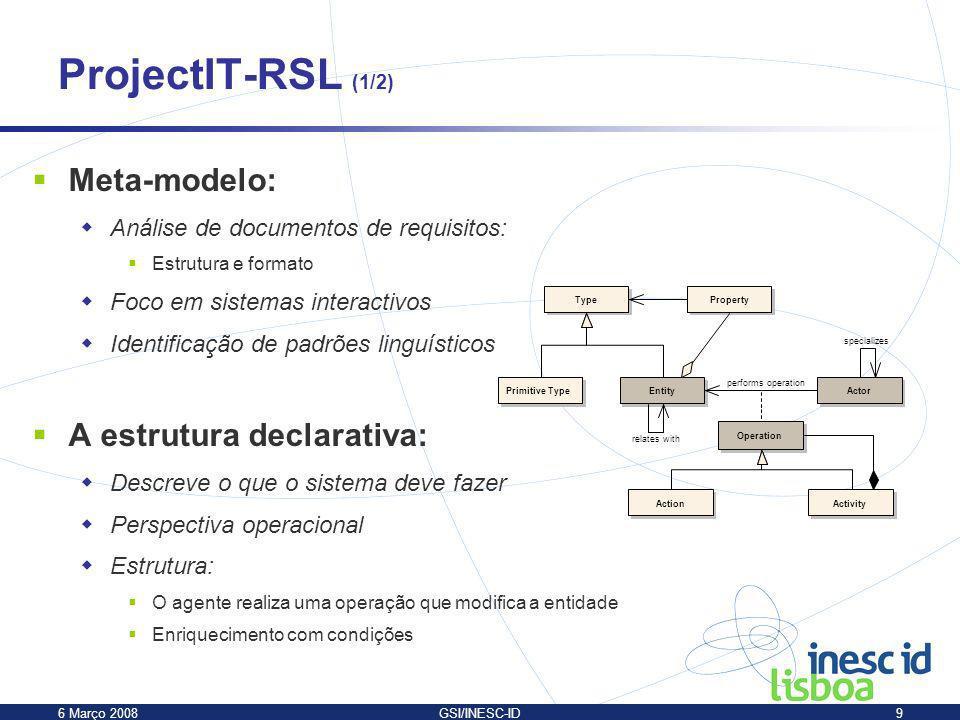 ProjectIT-RSL (1/2) Meta-modelo: A estrutura declarativa: