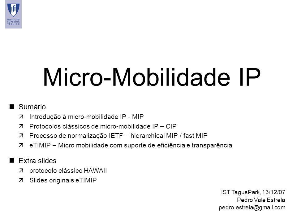 Micro-Mobilidade IP Sumário Extra slides