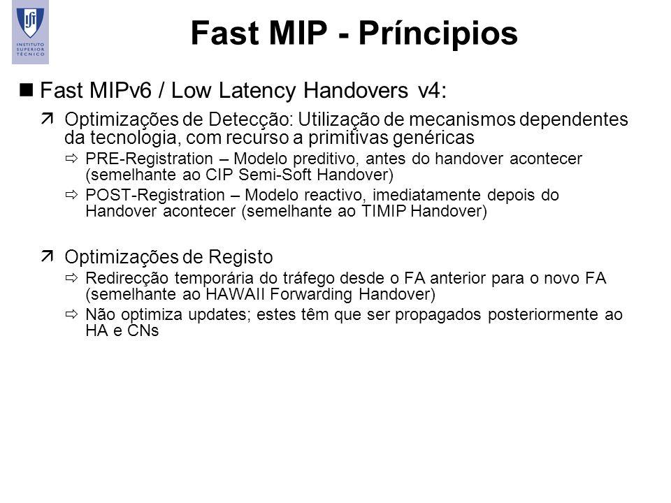 Fast MIP - Príncipios Fast MIPv6 / Low Latency Handovers v4: