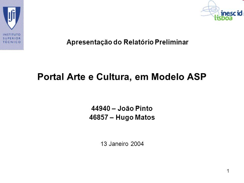 Portal Arte e Cultura, em Modelo ASP