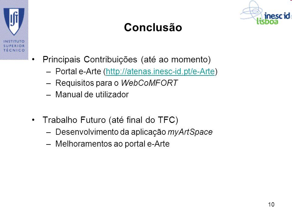 Conclusão Principais Contribuições (até ao momento)