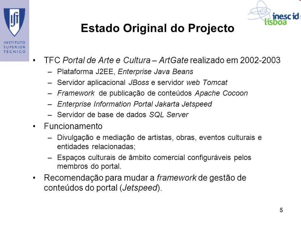 Estado Original do Projecto