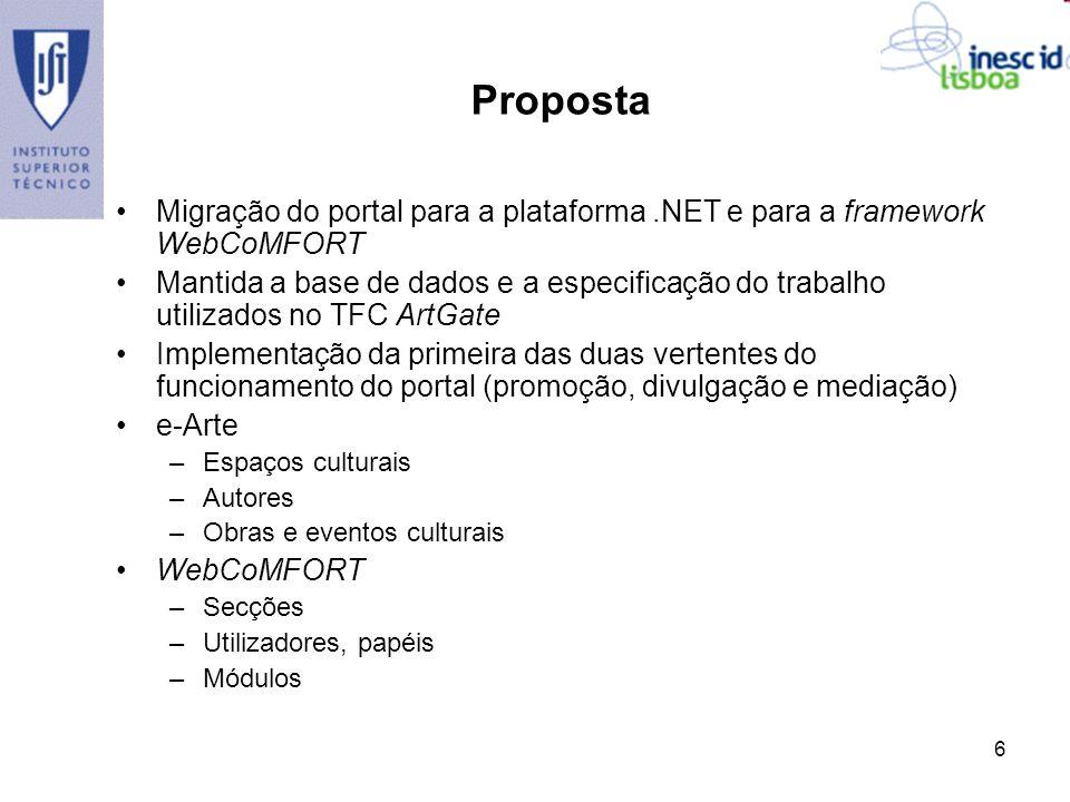 Proposta Migração do portal para a plataforma .NET e para a framework WebCoMFORT.