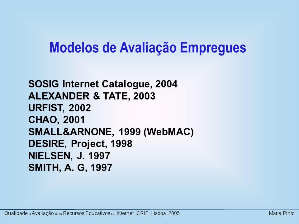 Modelos de Avaliação Empregues