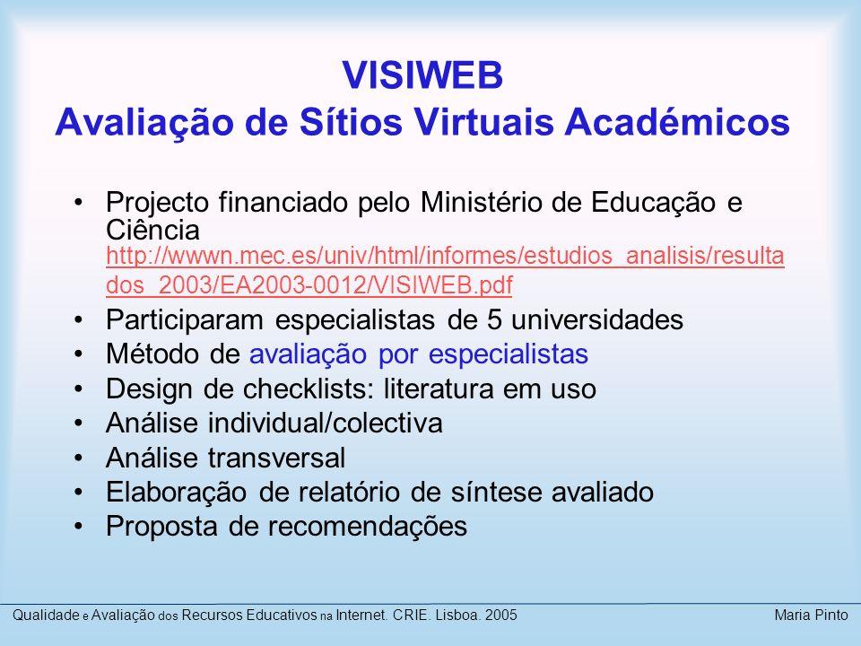 VISIWEB Avaliação de Sítios Virtuais Académicos