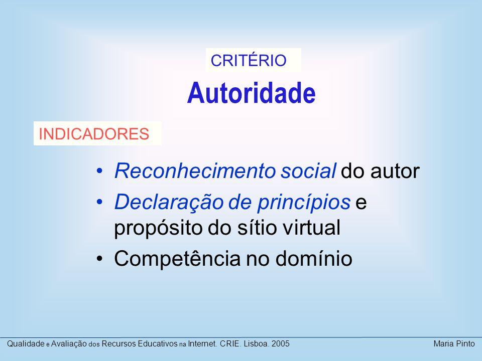 Autoridade Reconhecimento social do autor