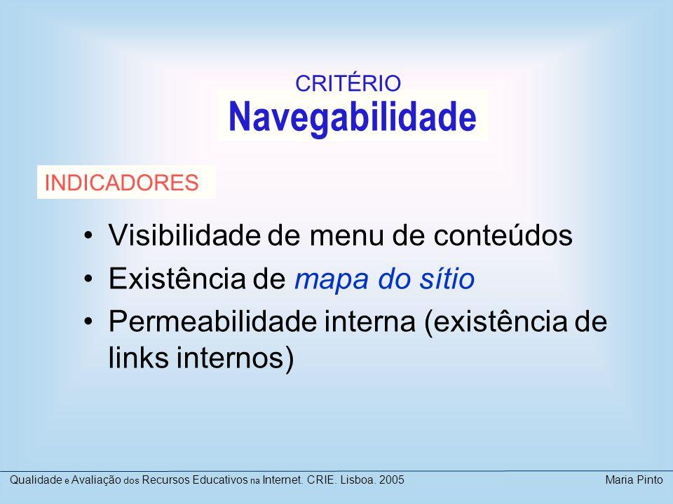 Navegabilidade Visibilidade de menu de conteúdos