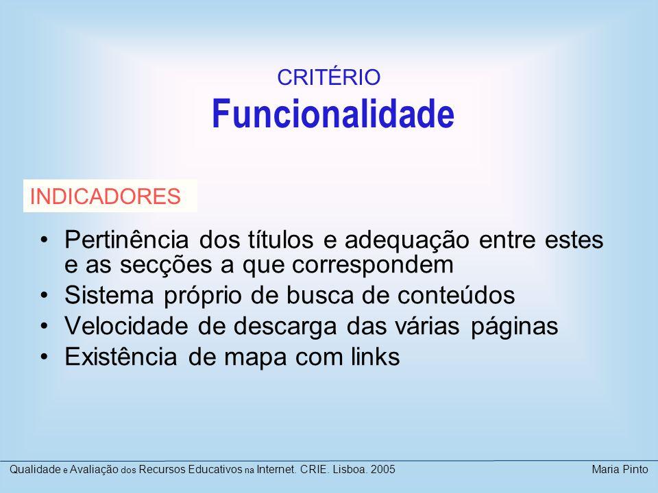 CRITÉRIO Funcionalidade. INDICADORES. Pertinência dos títulos e adequação entre estes e as secções a que correspondem.