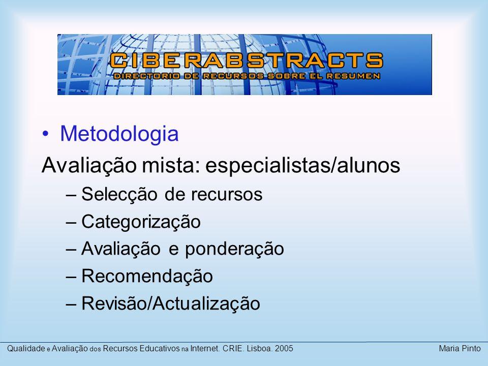 Avaliação mista: especialistas/alunos