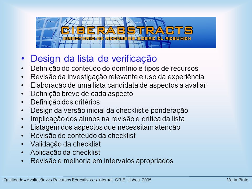 Design da lista de verificação