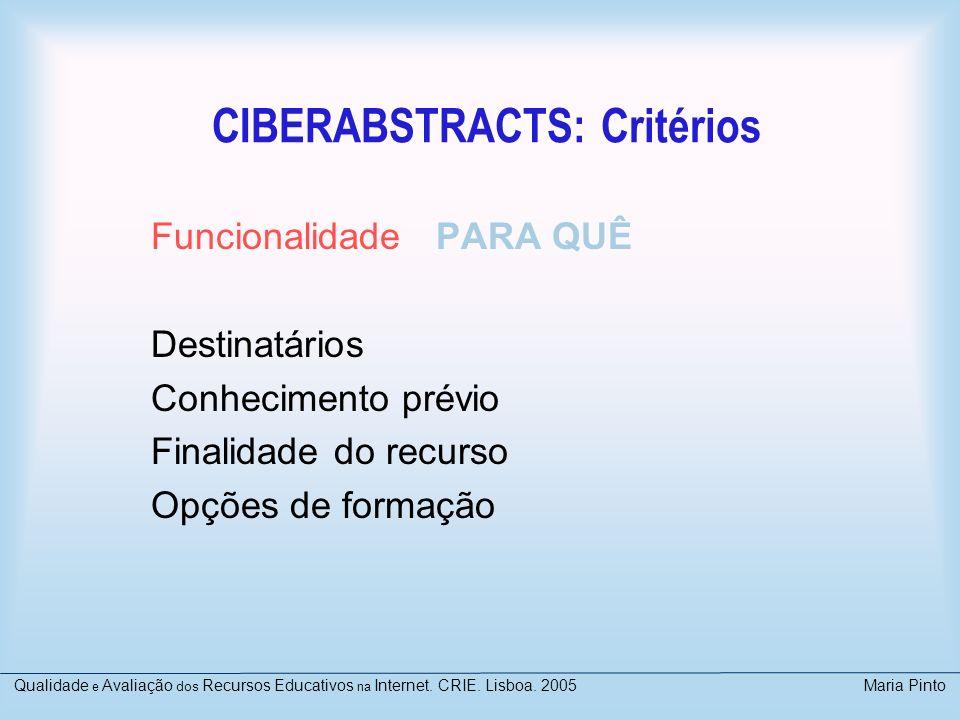 CIBERABSTRACTS: Critérios