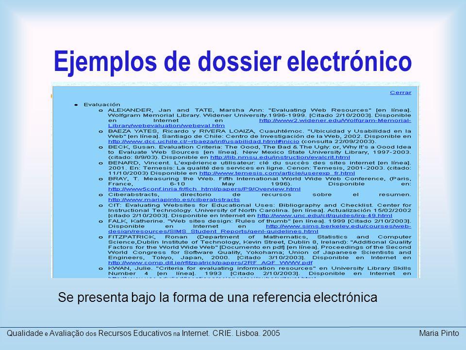 Ejemplos de dossier electrónico