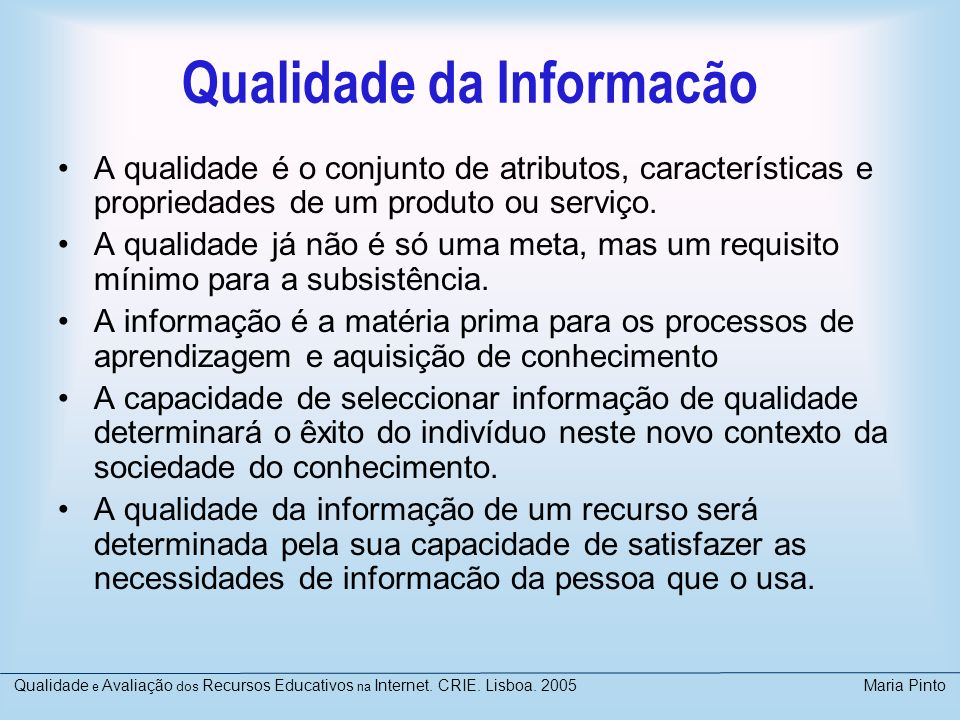 Qualidade da Informacão