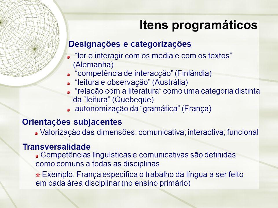 Itens programáticos Designações e categorizações