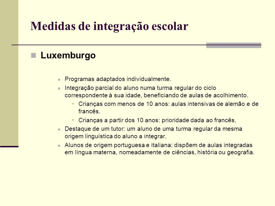 Medidas de integração escolar