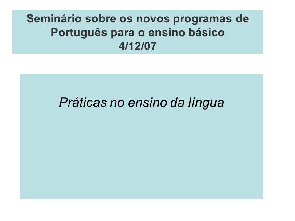 Práticas no ensino da língua