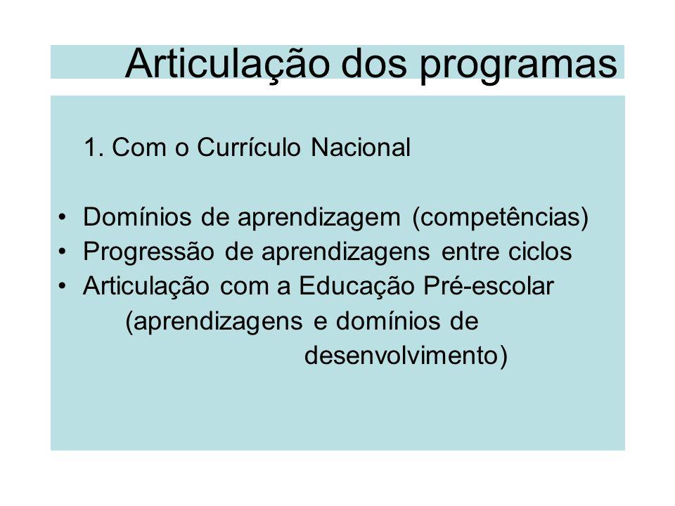 Articulação dos programas