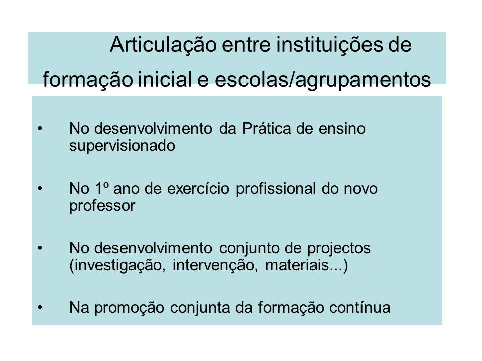Articulação entre instituições de formação inicial e escolas/agrupamentos