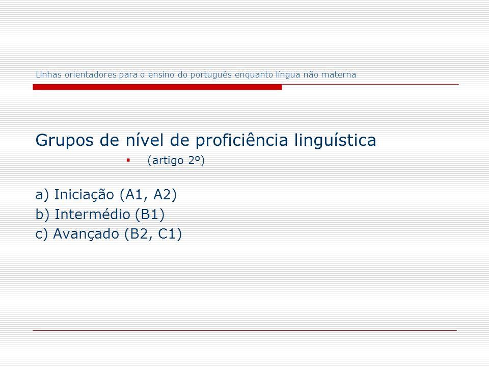 Grupos de nível de proficiência linguística