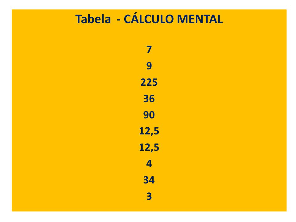 Tabela - CÁLCULO MENTAL