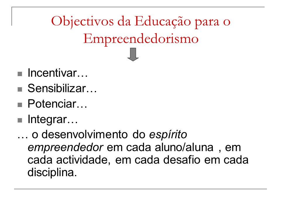 Objectivos da Educação para o Empreendedorismo
