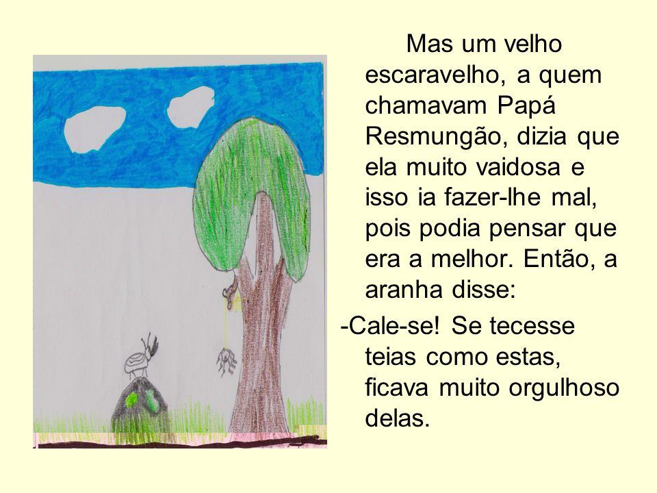 Mas um velho escaravelho, a quem chamavam Papá Resmungão, dizia que ela muito vaidosa e isso ia fazer-lhe mal, pois podia pensar que era a melhor. Então, a aranha disse: