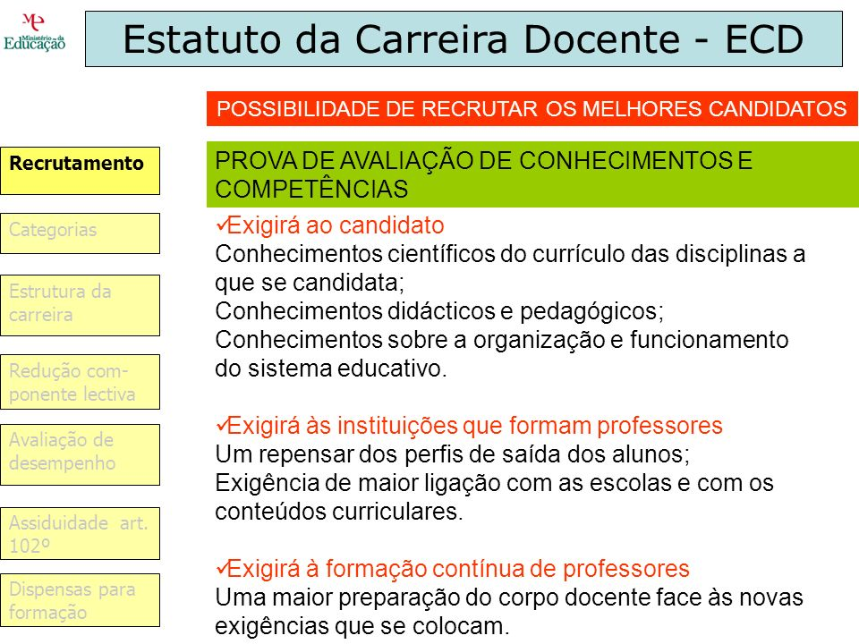 Estatuto da Carreira Docente - ECD
