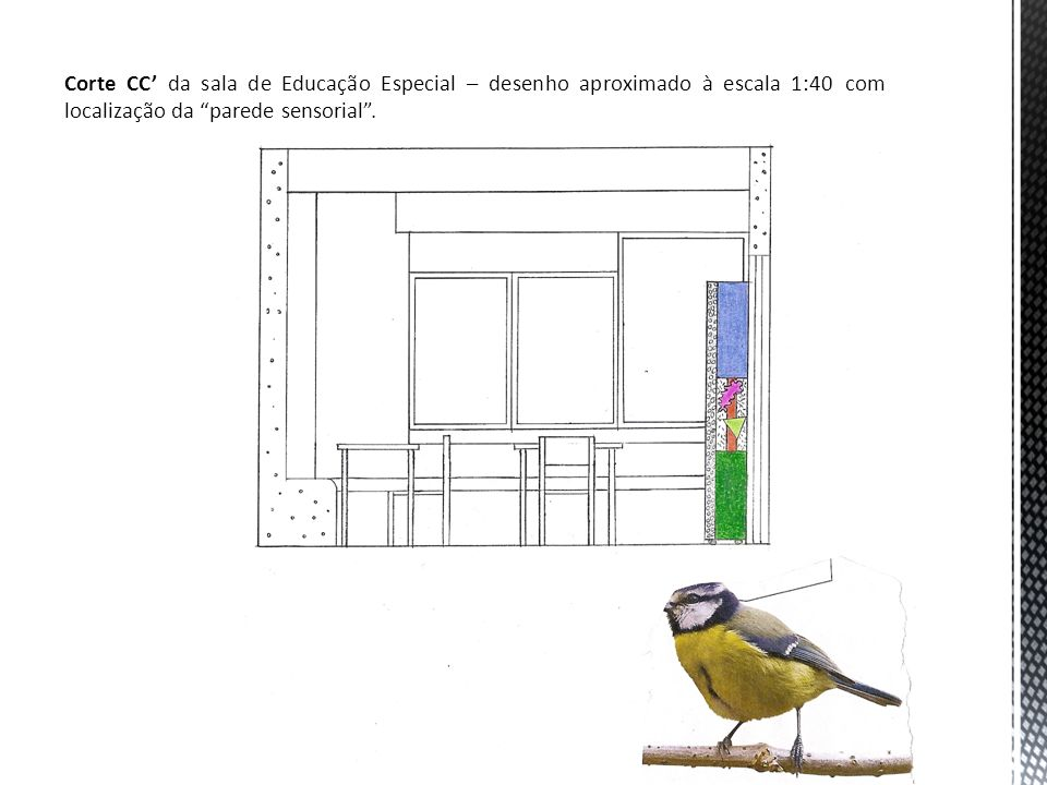 Corte CC' da sala de Educação Especial – desenho aproximado à escala 1:40 com localização da parede sensorial .