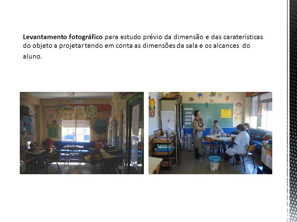 Levantamento fotográfico para estudo prévio da dimensão e das caraterísticas do objeto a projetar tendo em conta as dimensões da sala e os alcances do aluno.
