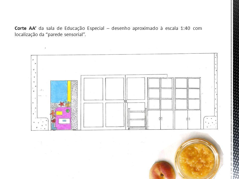 Corte AA' da sala de Educação Especial – desenho aproximado à escala 1:40 com localização da parede sensorial .