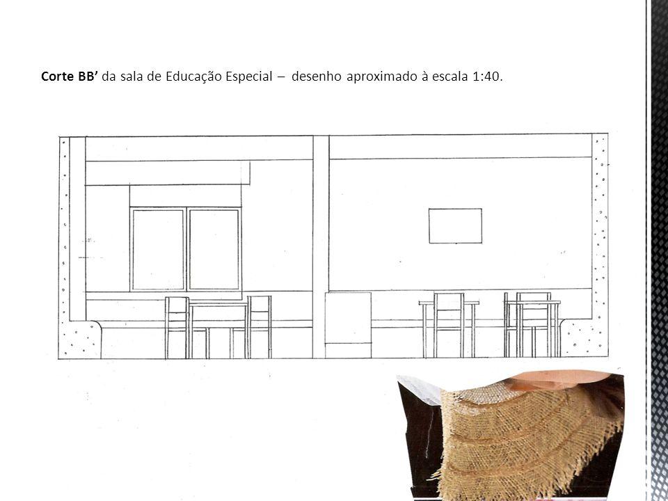 Corte BB' da sala de Educação Especial – desenho aproximado à escala 1:40.