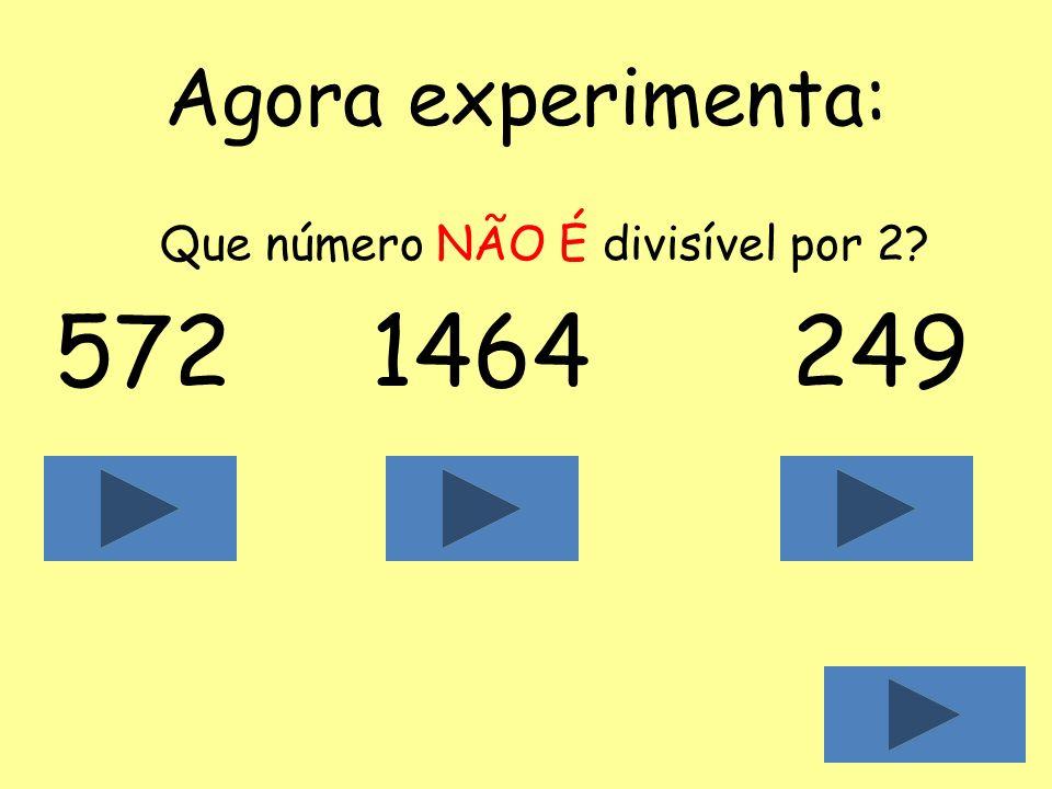 Agora experimenta: Que número NÃO É divisível por 2 572 1464 249