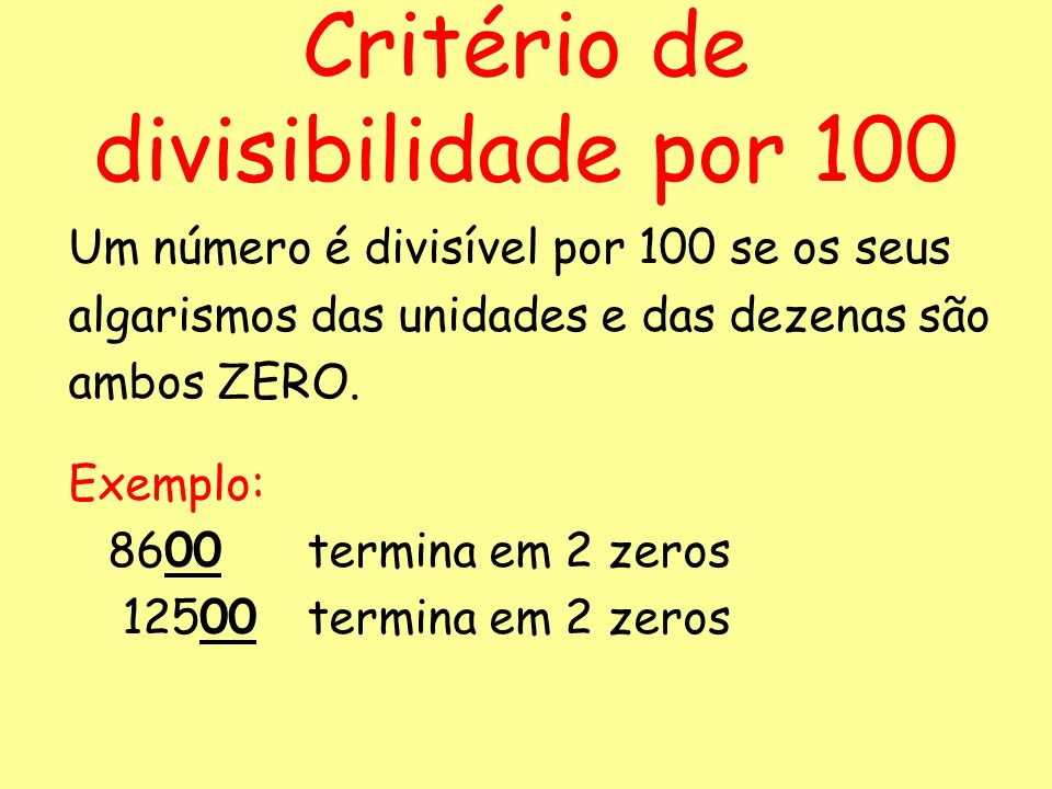 Critério de divisibilidade por 100