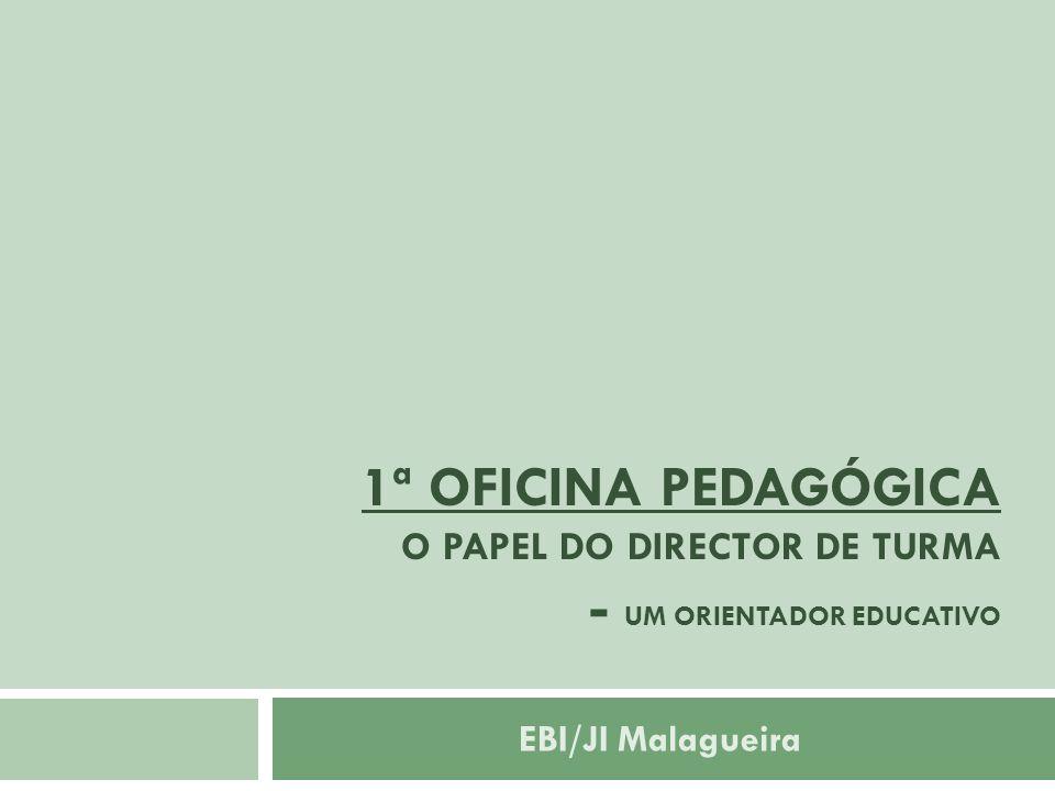 1ª OFICINA PEDAGÓGICA O papel do Director de Turma - um orientador educativo