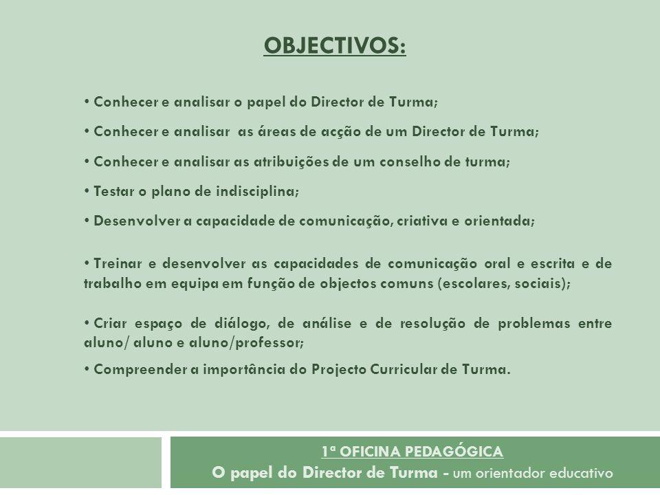 OBJECTIVOS: Conhecer e analisar o papel do Director de Turma;
