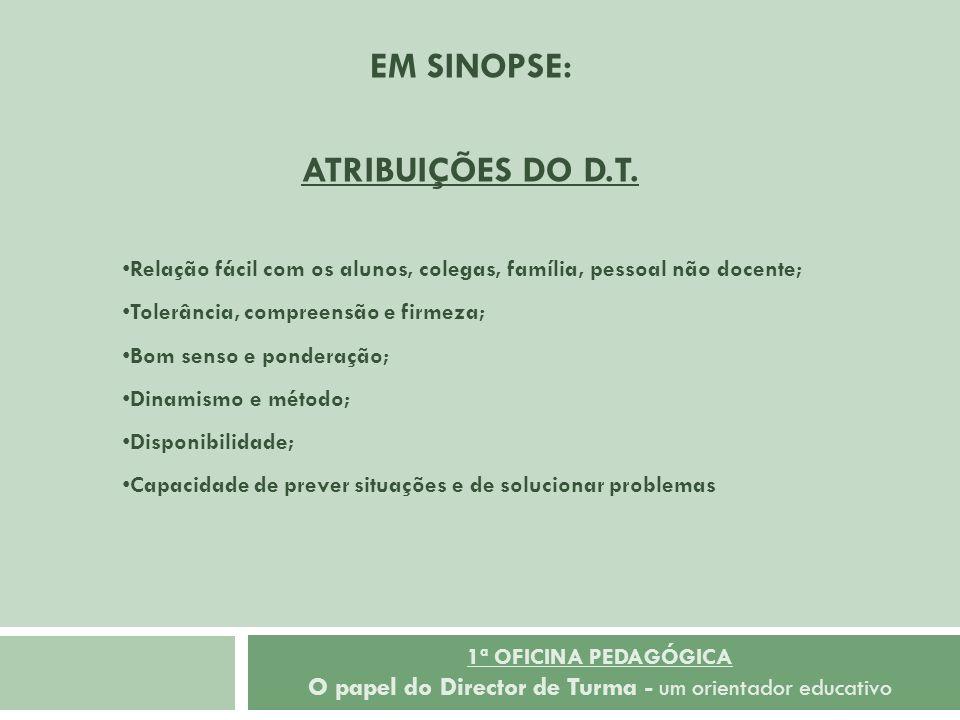 EM SINOPSE: ATRIBUIÇÕES DO D.T.