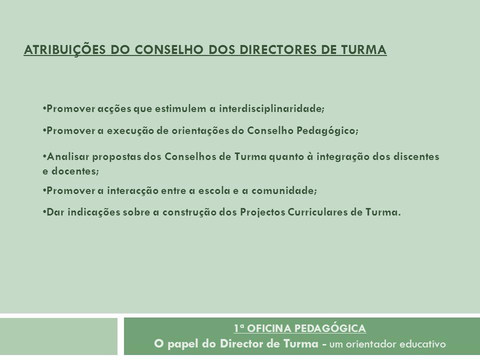 ATRIBUIÇÕES DO CONSELHO DOS DIRECTORES DE TURMA