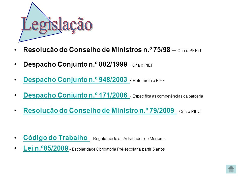 Legislação Resolução do Conselho de Ministros n.º 75/98 – Cria o PEETI
