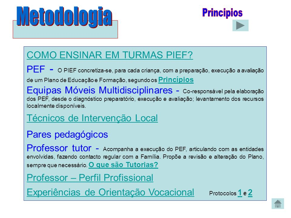 Metodologia Principios COMO ENSINAR EM TURMAS PIEF