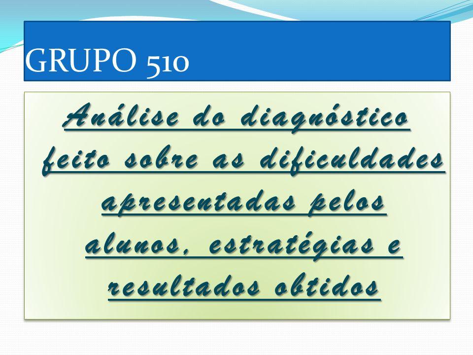 GRUPO 510 Análise do diagnóstico feito sobre as dificuldades apresentadas pelos alunos, estratégias e resultados obtidos.
