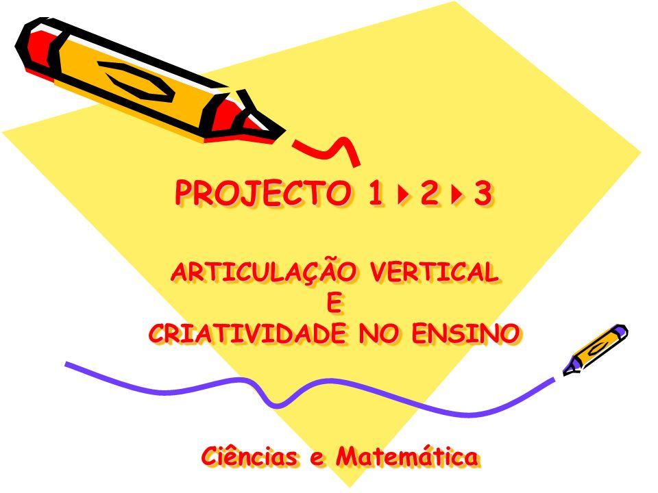 PROJECTO 123 ARTICULAÇÃO VERTICAL E CRIATIVIDADE NO ENSINO Ciências e Matemática