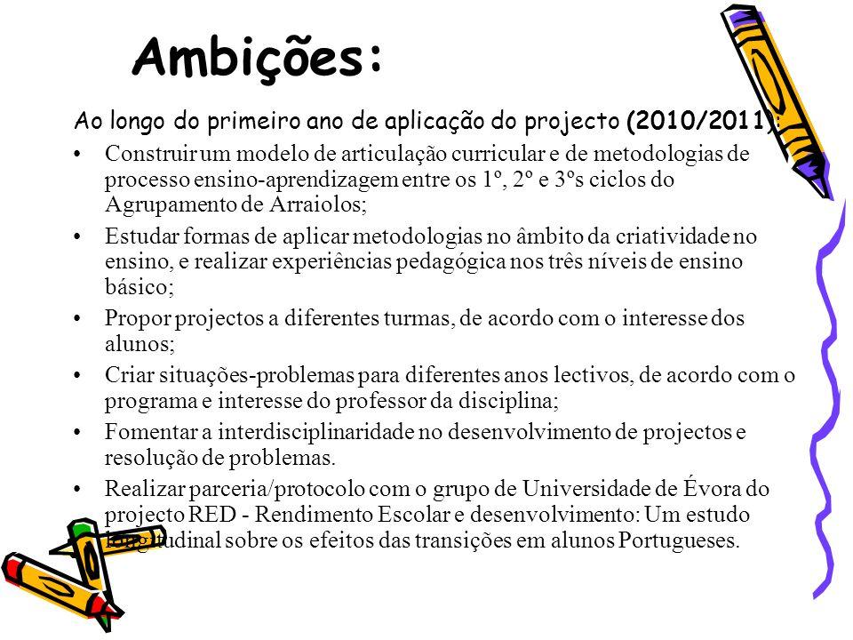 Ambições: Ao longo do primeiro ano de aplicação do projecto (2010/2011):