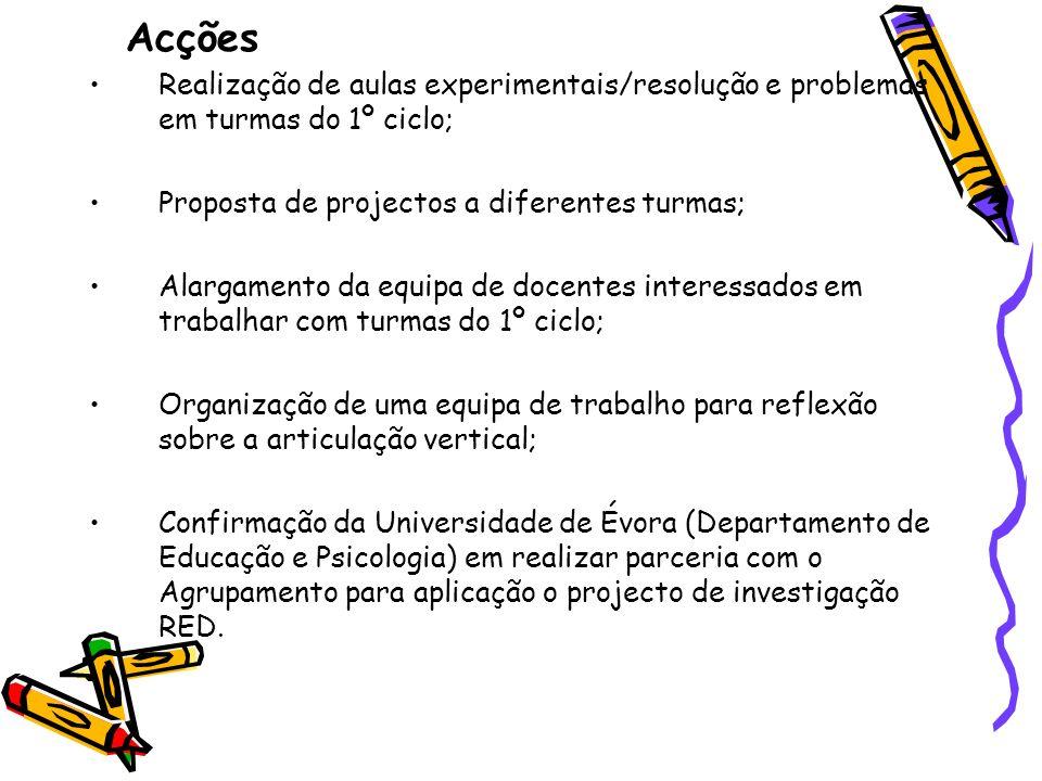 Acções Realização de aulas experimentais/resolução e problemas em turmas do 1º ciclo; Proposta de projectos a diferentes turmas;