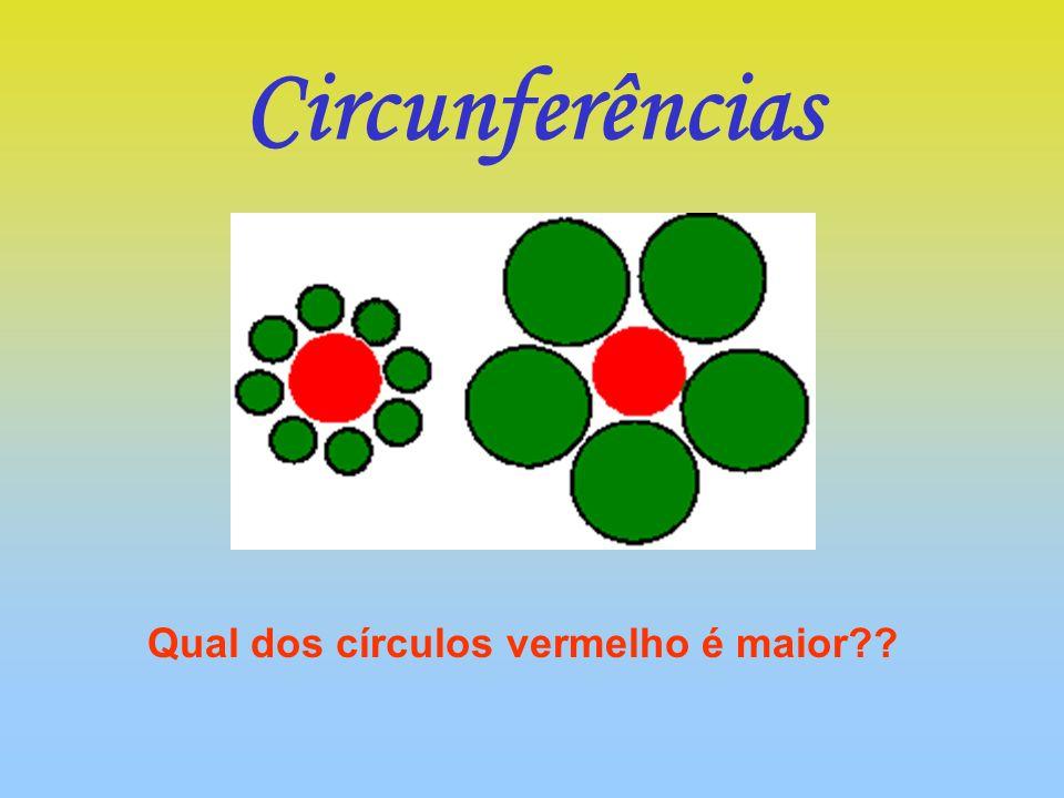 Qual dos círculos vermelho é maior