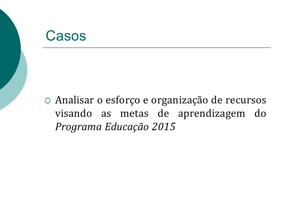Casos Analisar o esforço e organização de recursos visando as metas de aprendizagem do Programa Educação 2015.